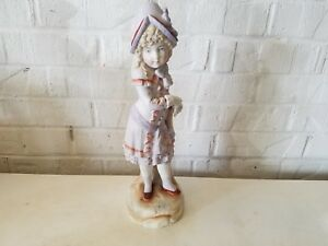 Vintage Victorian Era Style Porcelain Statue Figurine Of Girl With Letter