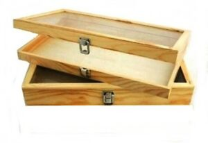 2 Natural Wood Glass Top Lid Keepsake Hobby Jewelry Display Storage Box Cases