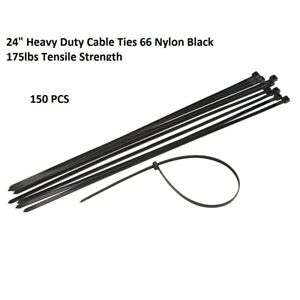 Usa 150 Pcs Heavy Duty 175 Lbs 24 Uv Resistant Black Cable Zip Ties