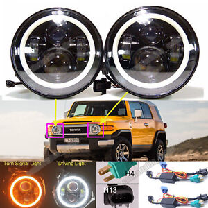 2xfor Toyota Fj Cruiser 07 14 7 Led Halo Angel Eyes Headlight H4 H13 H6024 Drl