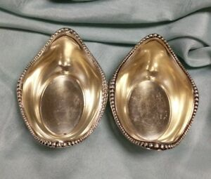 Pair Of Antique Gorham A2432 Beaded Sterling Silver Gold Wash Salt Cellars