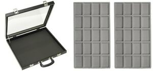 X Large Glass Top Grey 40 Space Display Box Case Lighters Pendants Pins Medals