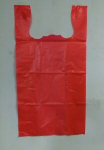 500pcs 1 6 Red Large Carry Out Retail Supermarket Grocery Plastic Shopping Bags