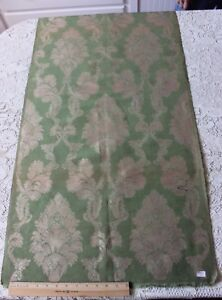 Antique French Lyon Green Silk Home Dec Damask Frame Sample Fabric C1870 90