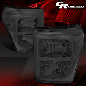 Pair Smoked Housing Clear Corner Headlights Lh Rh For 11 16 Ford F250 Superduty