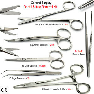 Suture Removal Suturing Tissue Toothed Forcep Scissors Surgical Needle Holder X6