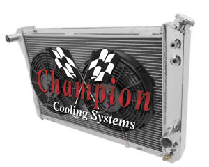 1982 1992 Chevy Camaro 3 Row Advanced Champion Aluminum Radiator W 2 12 Fans