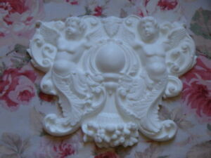 New Cherubs Acanthus Leaf Scroll Pediment Furniture Applique Onlay
