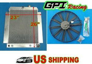 Universal Aluminum Radiator Griffin Hot Rat Rod Ford Chevy Dodge 26 23 fan