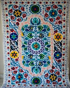 Bohemian Throw Vintage Blanket Suzani Hand Embroidered Twin Bedding Quilt Sz 59