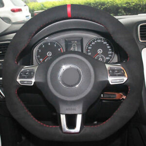 For Vw Golf 6 Gti Mk6 Polo Steering Wheel Cover Diy Hand stitched Car Interior