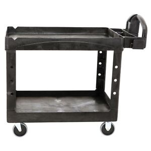 Rubbermaid Heavy duty Utility Cart Large 2 Shelves Black No Tax Free Ship