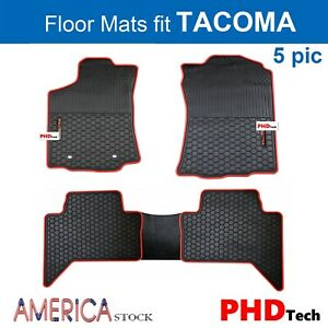 Prime All weather Rubber Slush Floor Mats For Toyota Tacoma Crew Cab Red