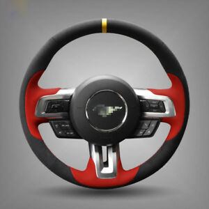 For Ford Mustang Steering Wheel Cover Diy Hand stitched Car Interior Case Custom
