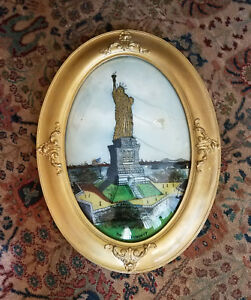 Antique Domed Rev Painted Glass Statue Of Liberty Folk Art Wood Frame 25 X 19