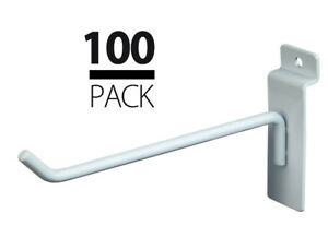 100 New Slatwall Metal Hook Bundle 4 6 50 Each White