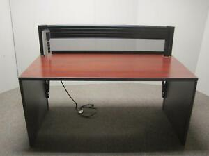 Teknion 5 Ft Home Office Cherry Wood Trading Computer Desk W Black Divider