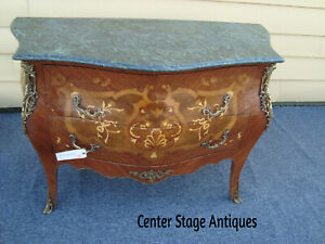 57438 Louis Xv Inlaid Marble Top Dresser Chest