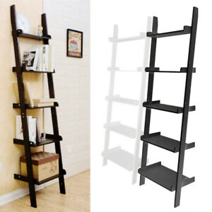70 Inch 5 Tier Wood Leaning Ladder Shelf Bookcase Bookshelf Storage Shelves Unit