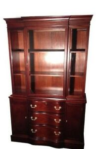 Antique Vintage Traditional Mid Century Mahogany China Cabinet Bookcase Storage