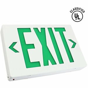 Ac 120v 277v Single double Face Led Exit Sign Green Letter Ul classified With