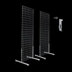 Only Hangers Gridwall Panels 2 X 5 With T leg Stands And Utility Hooks Chrome