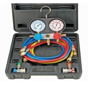 A c Manifold Gauge Set W case Air Conditioning Refrigeration Complete Kit Sealed