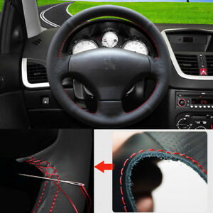 For Peugeot 206 207 Steering Wheel Cover Non Slip Diy Hand Sewing Black Leather