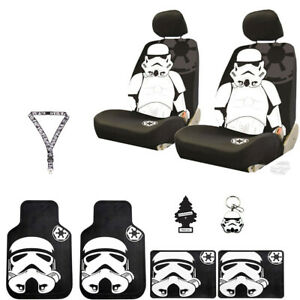 New 10 Pcs Star Wars Stormtrooper Car Seat Covers Floor Mats Steering Wheel Gift