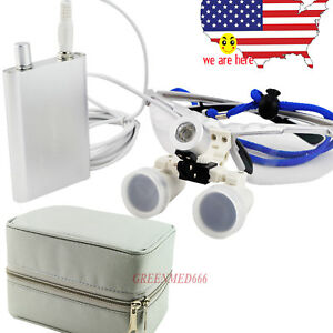 Silver 2 5x 420 Surgical Dental Binocular Loupes Galsses W Led Head Light bag