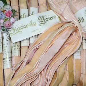 1y 5 8 Vtg French Peachy Pink Velvet Ribbon Trim Antique Doll Jacquard Crushed