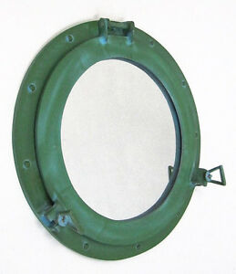 Large Ship S Porthole Mirror 17 Aluminum Green Finish Round Nautical Wall Decor