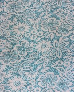 Vintage Turquoise Blue White Printed Floral Lace Cotton Feedsack Fabric