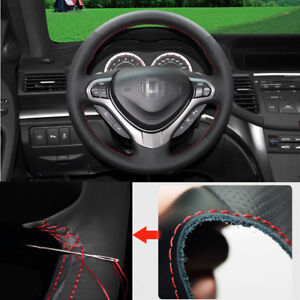 For Honda Spirior 2012 Steering Wheel Cover Non Slip Hand Sewing Black Leather