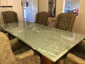 Conference Table Granite Top Chairs 3 pedestal Base 104 x47 One Piece Top