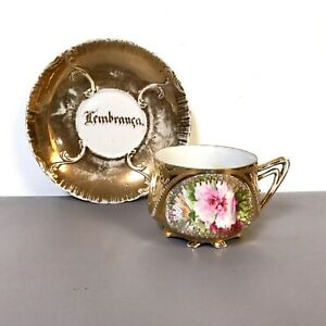 Antique Porcelain Royal Vienna Footed Teacup Saucer Flower Gold Decoration