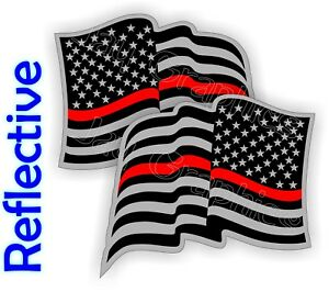 Reflective Firefighter American Flag Hard Hat Stickers Red Flags Decals Helmet