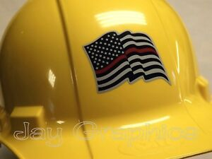 Firefighter American Flag Hard Hat Sticker Usa Flags Motorcycle Helmet Decal