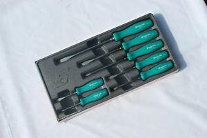 Snap On 7 Piece Rare Teal Hard Handle Combination Screwdriver Set New