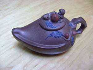 Yixing Zisha Clay Teapot Monkey Tree Lid Signed Beautiful Chinese