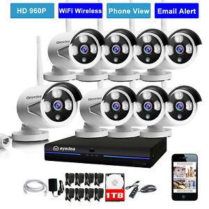 Eyedea 8 Ch 1080p Real Poe Nvr Phone View Ip Night Vision Cctv Camera System 2tb