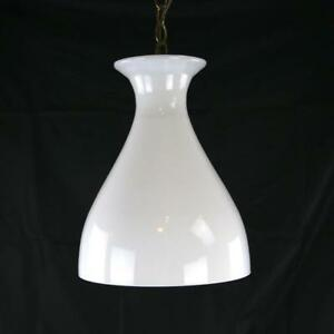 Vtg White Murano Glass Hour Glass Pendant Fixture 1970s Rare Chandelier 2 Italy