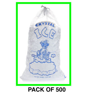 Crystal Clear Commercial Ice Bags With Drawstring 500 Pack 10 Lb Extra Strong