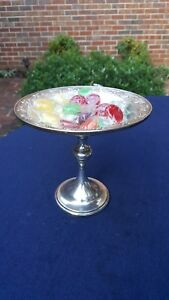 Vintage Quaker Sterling Silver Weighted Pedestal Candy Bonbon Dish Compote