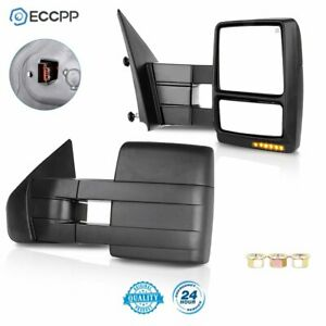 For 2007 2014 Ford F150 Towing Mirrors Power Heated Led Puddle Signal Side Pair