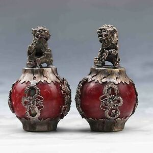 A Pair Collectible Decor Old Jade Tibet Silver Lion Statue