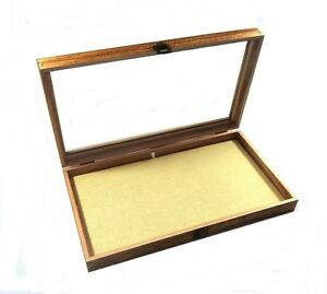 2 Oak Stained Wood Glass Top Linen Pad Display Box Cases Medals Jewelry Knife