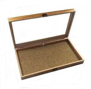 6 Oak Stained Wood Glass Top Burlap Pad Display Box Case Medals Jewelry Knife