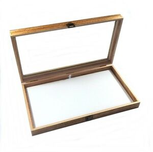 Oak Stained Wood Glass Top White Pad Display Box Case Medals Jewelry Knife
