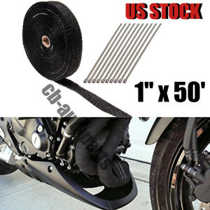 Black Exhaust header Heat Wrap 1 X 50 Roll With Stainless Ties Kit